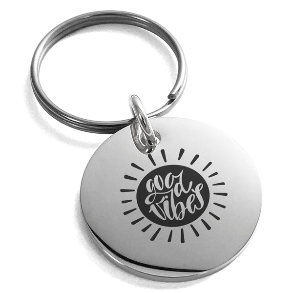 Stainless Steel Good Vibes Sun Engraved Small Medallion Circle Charm Keychain Keyring - Tioneer