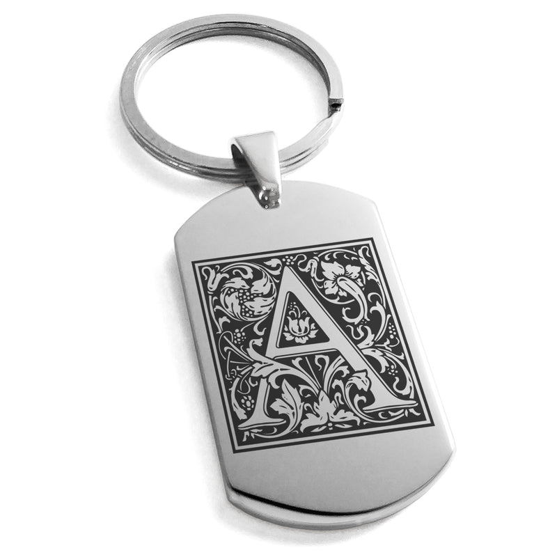 Stainless Steel Letter A Alphabet Initial Floral Box Monogram Engraved Dog Tag Keychain Keyring - Tioneer
