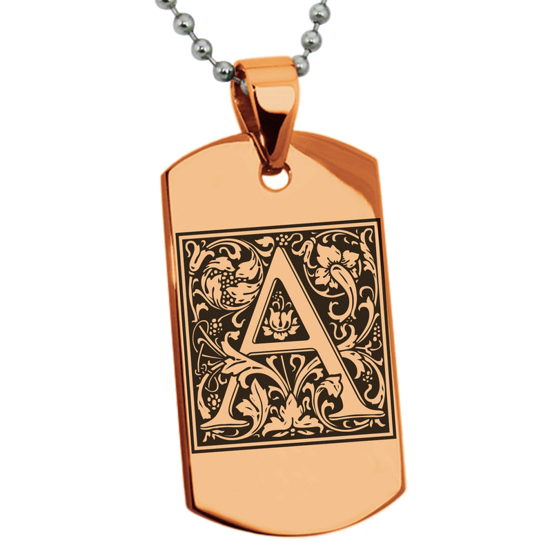 Stainless Steel Letter A Alphabet Initial Floral Box Monogram Engraved Dog Tag Pendant Necklace - Tioneer