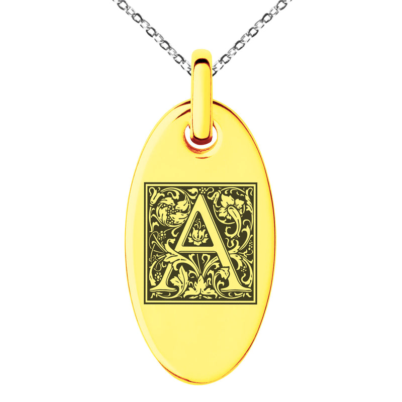 Stainless Steel Letter A Initial Floral Box Monogram Engraved Small Oval Charm Pendant Necklace