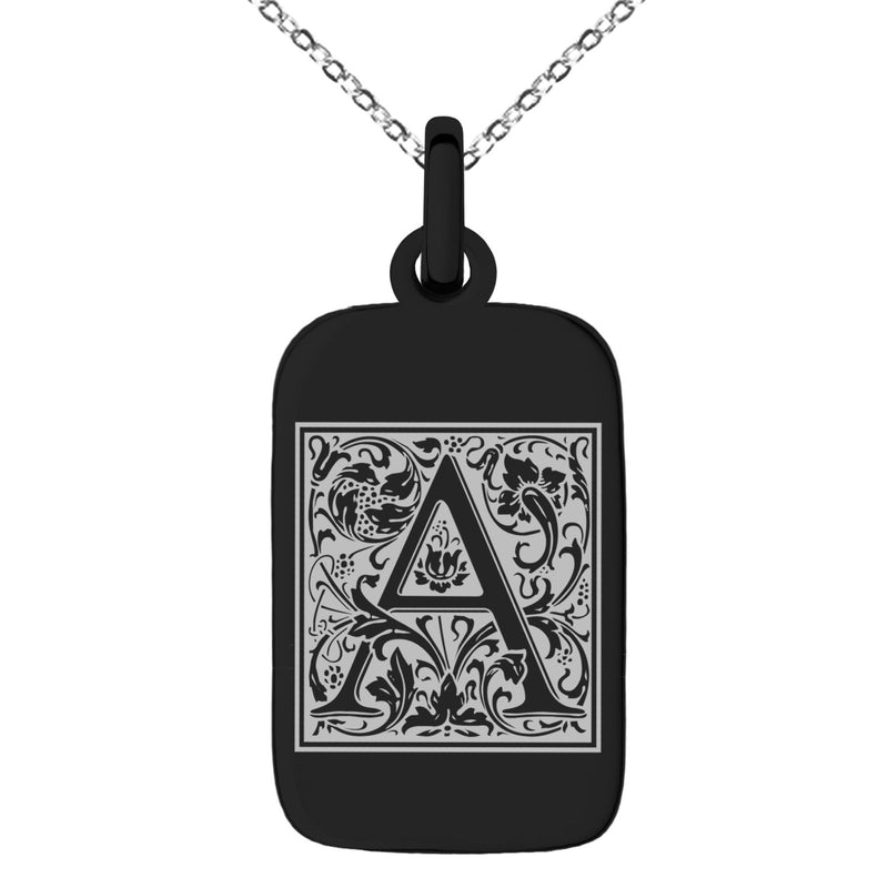 Stainless Steel Letter A Initial Floral Box Monogram Engraved Small Rectangle Dog Tag Charm Pendant Necklace