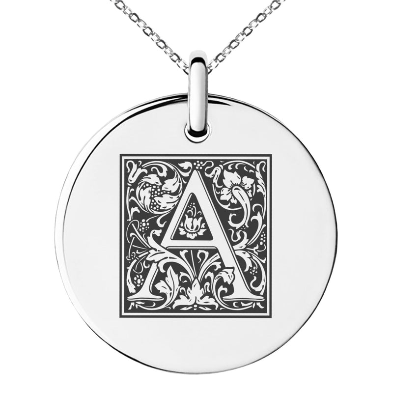 Stainless Steel Letter A Initial Floral Box Monogram Engraved Small Medallion Circle Charm Pendant Necklace