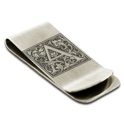 Stainless Steel Letter A Alphabet Initial Floral Box Monogram Engraved Money Clip Credit Card Holder - Tioneer