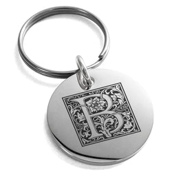 Stainless Steel Letter B Initial Floral Box Monogram Engraved Small Medallion Circle Charm Keychain Keyring - Tioneer