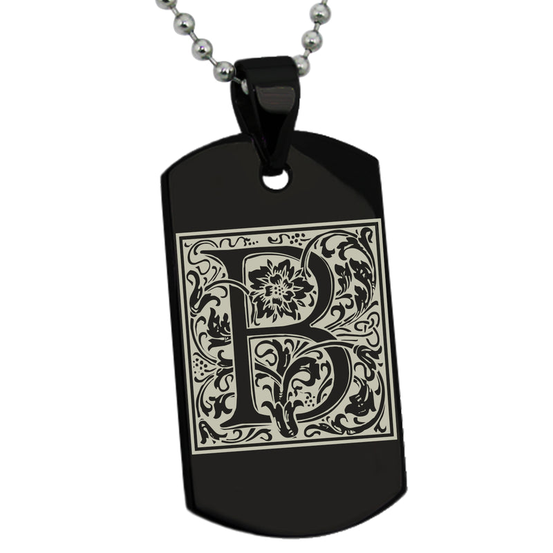 Stainless Steel Letter B Alphabet Initial Floral Box Monogram Engraved Dog Tag Pendant Necklace - Tioneer