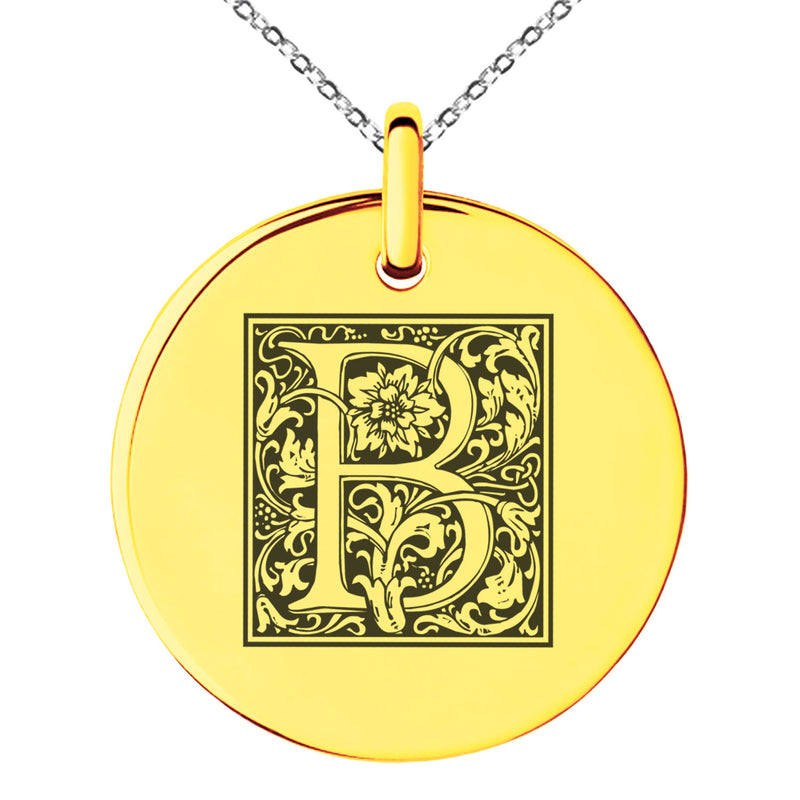 Stainless Steel Letter B Initial Floral Box Monogram Engraved Small Medallion Circle Charm Pendant Necklace