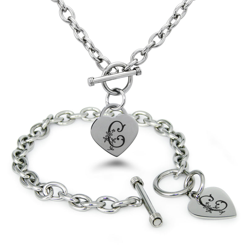 Stainless Steel Letter C Alphabet Initial Floral Monogram Engraved Heart Charm Toggle Link Bracelet Necklace Set - Tioneer