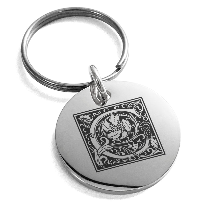 Stainless Steel Letter C Initial Floral Box Monogram Engraved Small Medallion Circle Charm Keychain Keyring - Tioneer