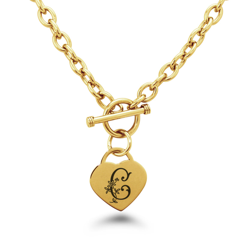 Stainless Steel Letter C Alphabet Initial Floral Monogram Engraved Heart Charm Toggle Link Necklace - Tioneer