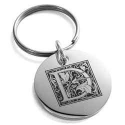 Stainless Steel Letter D Initial Floral Box Monogram Engraved Small Medallion Circle Charm Keychain Keyring - Tioneer