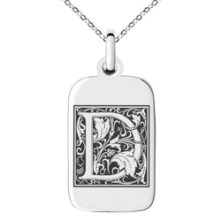 Stainless Steel Letter D Initial Floral Box Monogram Engraved Small Rectangle Dog Tag Charm Pendant Necklace