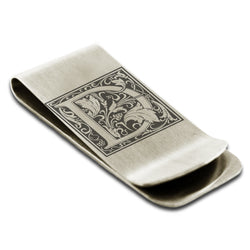 Stainless Steel Letter D Alphabet Initial Floral Box Monogram Engraved Money Clip Credit Card Holder - Tioneer
