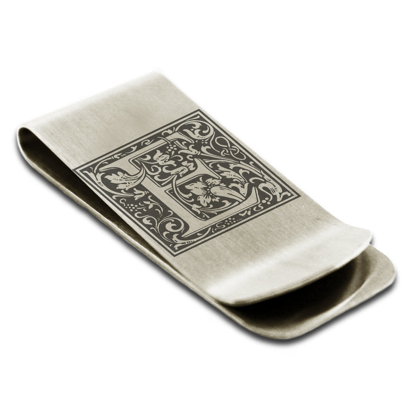 Stainless Steel Letter E Alphabet Initial Floral Box Monogram Engraved Money Clip Credit Card Holder - Tioneer