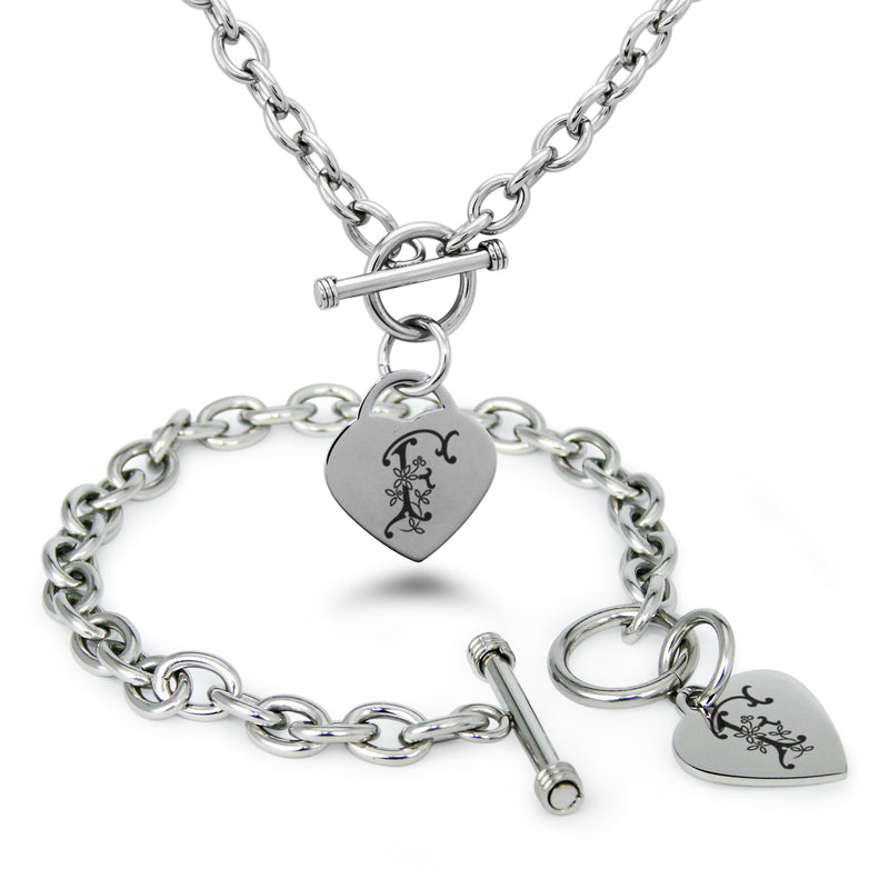 Stainless Steel Letter F Alphabet Initial Floral Monogram Engraved Heart Charm Toggle Link Bracelet Necklace Set - Tioneer