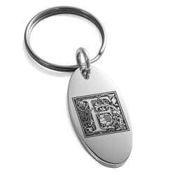 Stainless Steel Letter F Initial Floral Box Monogram Engraved Small Oval Charm Keychain Keyring - Tioneer