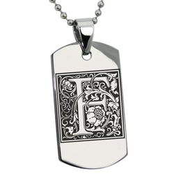 Stainless Steel Letter F Alphabet Initial Floral Box Monogram Engraved Dog Tag Pendant Necklace - Tioneer