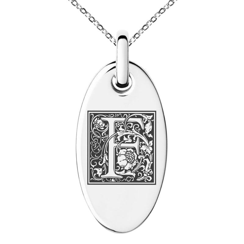 Stainless Steel Letter F Initial Floral Box Monogram Engraved Small Oval Charm Pendant Necklace