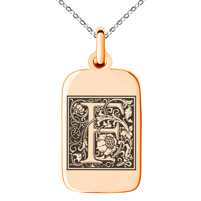 Stainless Steel Letter F Initial Floral Box Monogram Engraved Small Rectangle Dog Tag Charm Pendant Necklace