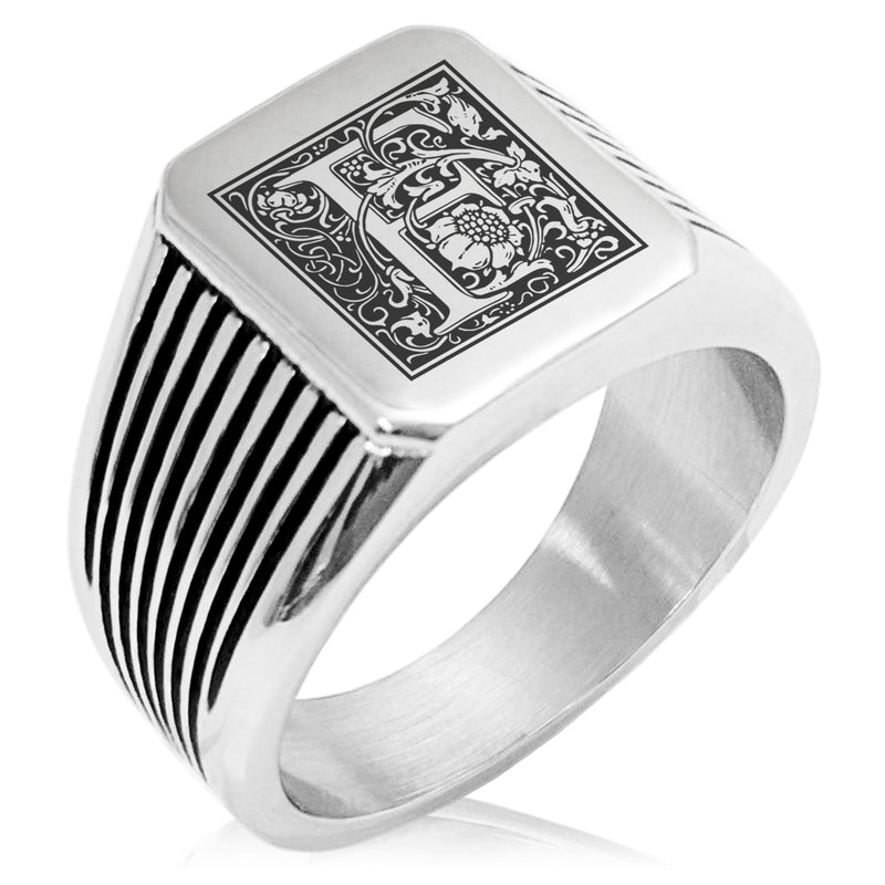 Stainless Steel Letter F Alphabet Initial Floral Box Monogram Needle Stripe Pattern Biker Style Polished Ring - Tioneer