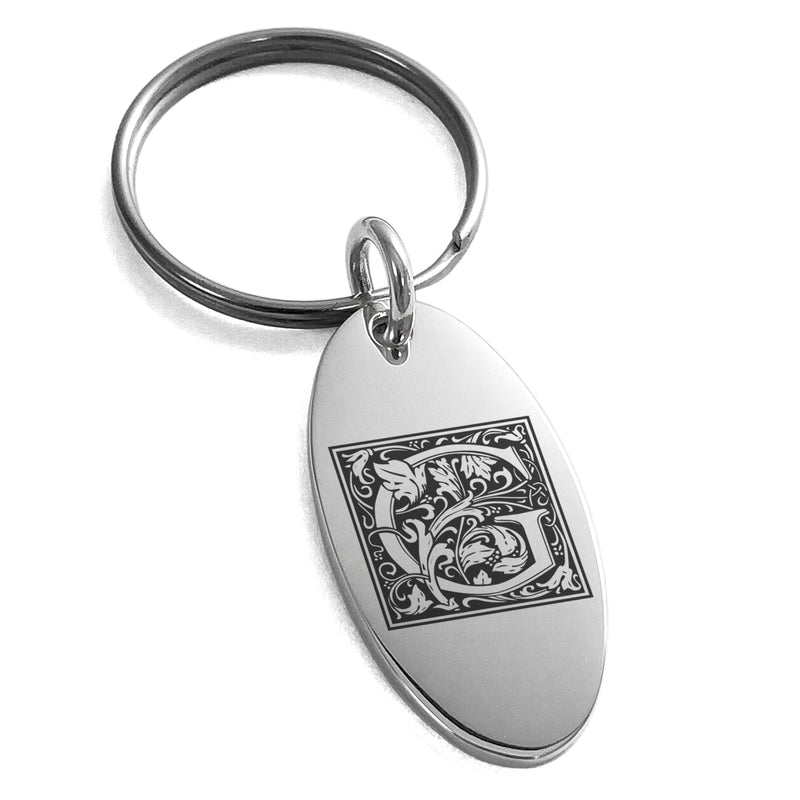 Stainless Steel Letter G Initial Floral Box Monogram Engraved Small Oval Charm Keychain Keyring - Tioneer