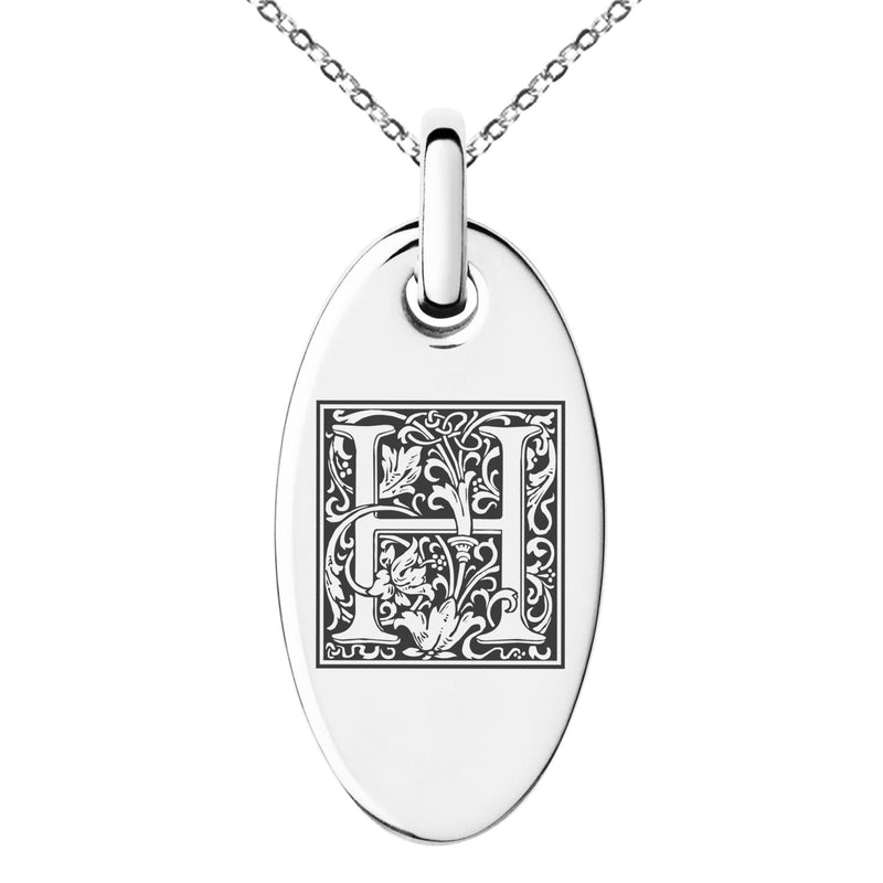 Stainless Steel Letter H Initial Floral Box Monogram Engraved Small Oval Charm Pendant Necklace