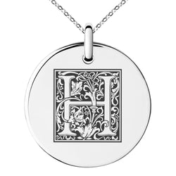 Stainless Steel Letter H Initial Floral Box Monogram Engraved Small Medallion Circle Charm Pendant Necklace