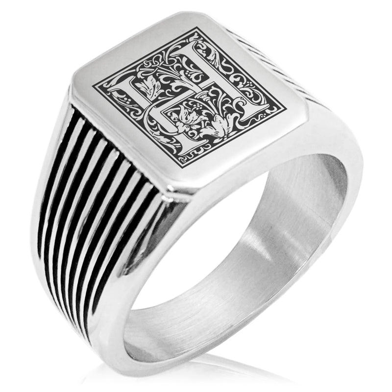 Stainless Steel Letter H Alphabet Initial Floral Box Monogram Needle Stripe Pattern Biker Style Polished Ring - Tioneer