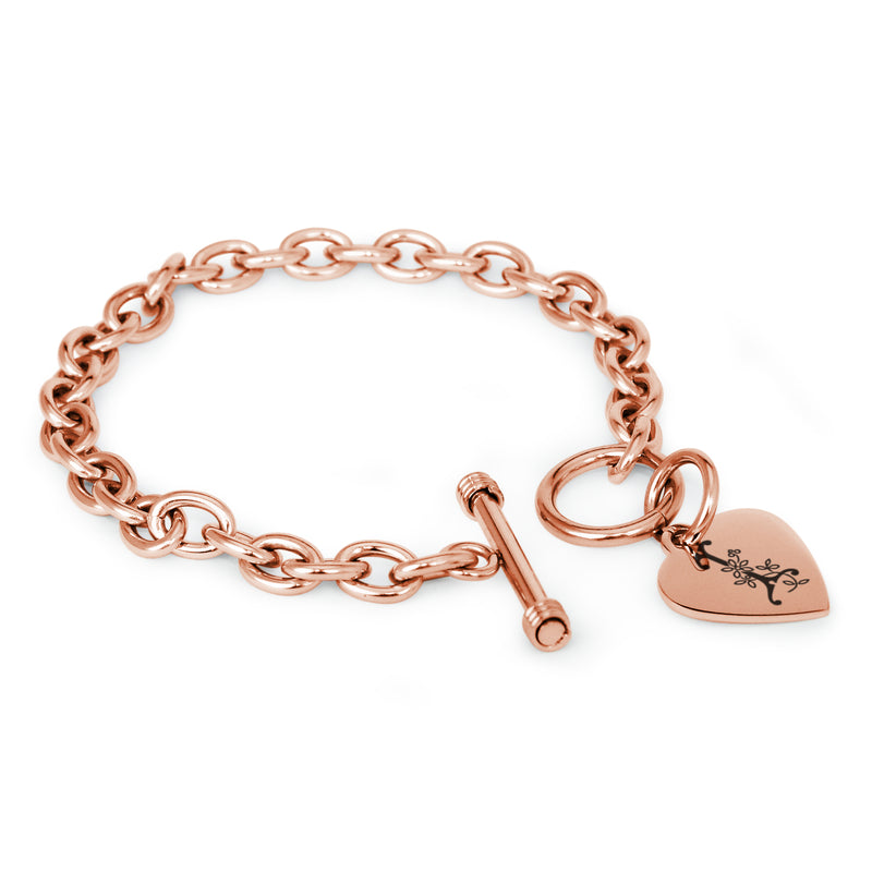 Stainless Steel Letter I Alphabet Initial Floral Monogram Engraved Heart Charm Toggle Link Bracelet - Tioneer