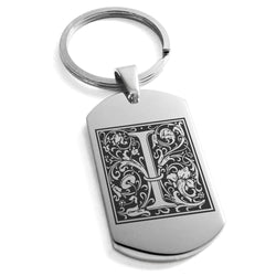Stainless Steel Letter I Alphabet Initial Floral Box Monogram Engraved Dog Tag Keychain Keyring - Tioneer