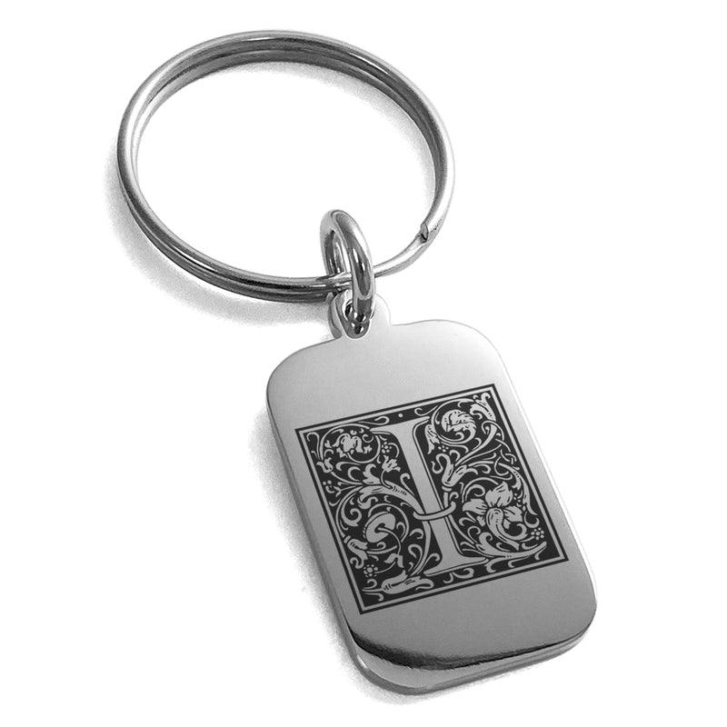 Stainless Steel Letter I Initial Floral Box Monogram Engraved Small Rectangle Dog Tag Charm Keychain Keyring - Tioneer