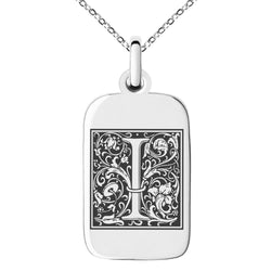 Stainless Steel Letter I Initial Floral Box Monogram Engraved Small Rectangle Dog Tag Charm Pendant Necklace
