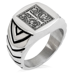 Stainless Steel Letter I Alphabet Initial Floral Box Monogram Chevron Pattern Biker Style Polished Ring - Tioneer