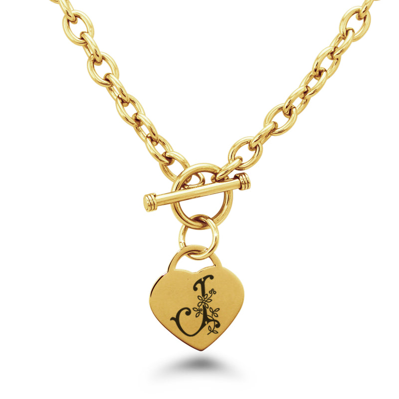 Stainless Steel Letter J Alphabet Initial Floral Monogram Engraved Heart Charm Toggle Link Necklace - Tioneer
