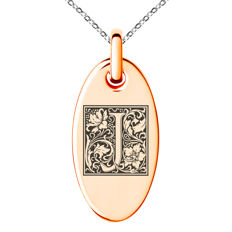 Stainless Steel Letter J Initial Floral Box Monogram Engraved Small Oval Charm Pendant Necklace