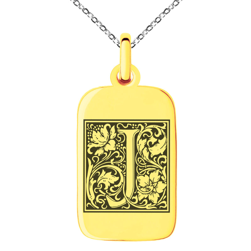 Stainless Steel Letter J Initial Floral Box Monogram Engraved Small Rectangle Dog Tag Charm Pendant Necklace