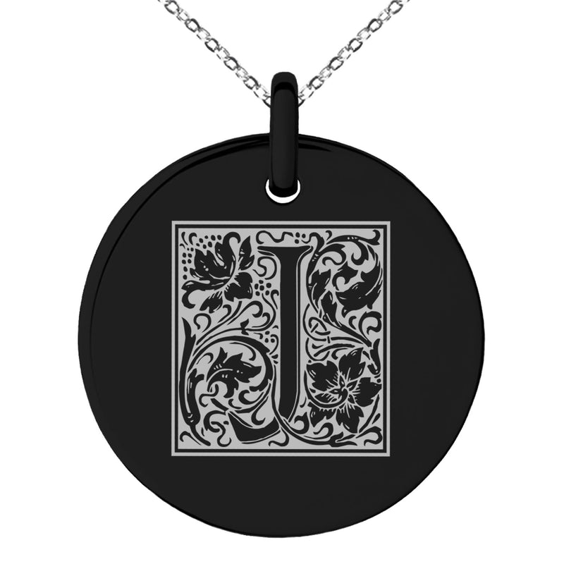 Stainless Steel Letter J Initial Floral Box Monogram Engraved Small Medallion Circle Charm Pendant Necklace