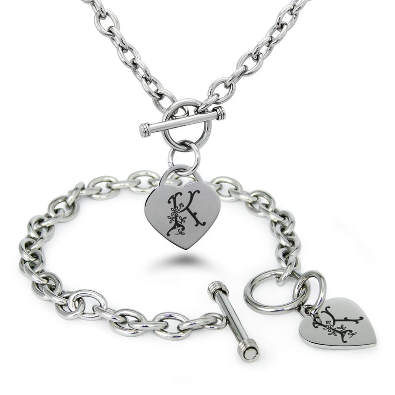 Stainless Steel Letter K Alphabet Initial Floral Monogram Engraved Heart Charm Toggle Link Bracelet Necklace Set - Tioneer