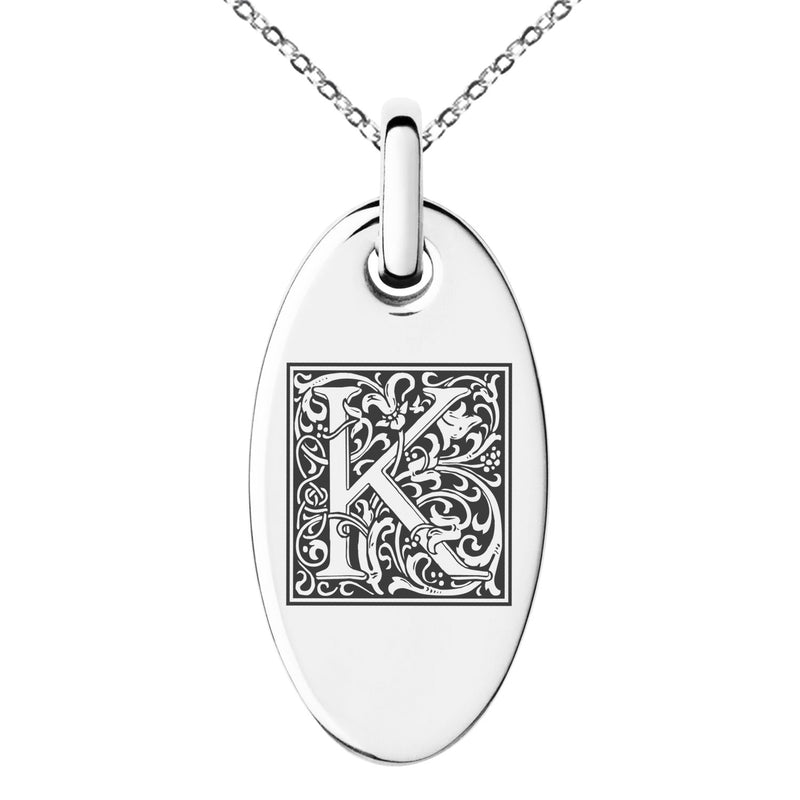 Stainless Steel Letter K Initial Floral Box Monogram Engraved Small Oval Charm Pendant Necklace