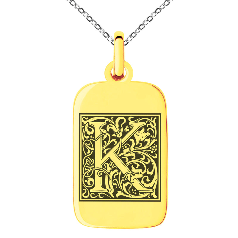 Stainless Steel Letter K Initial Floral Box Monogram Engraved Small Rectangle Dog Tag Charm Pendant Necklace