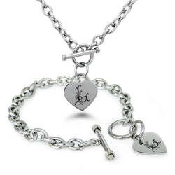 Stainless Steel Letter L Alphabet Initial Floral Monogram Engraved Heart Charm Toggle Link Bracelet Necklace Set - Tioneer