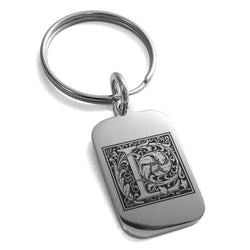 Stainless Steel Letter L Initial Floral Box Monogram Engraved Small Rectangle Dog Tag Charm Keychain Keyring - Tioneer