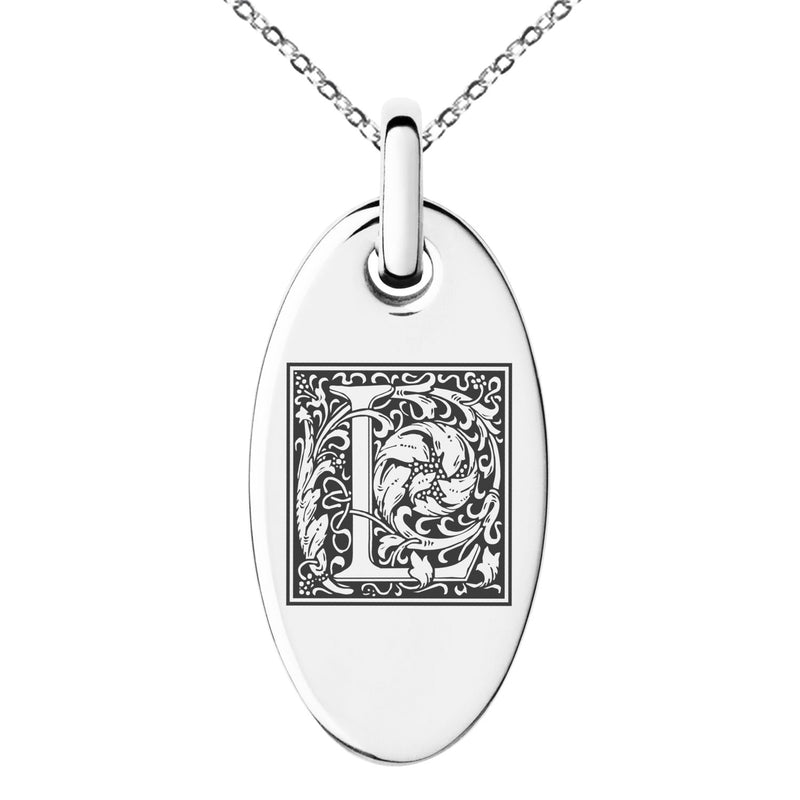 Stainless Steel Letter L Initial Floral Box Monogram Engraved Small Oval Charm Pendant Necklace