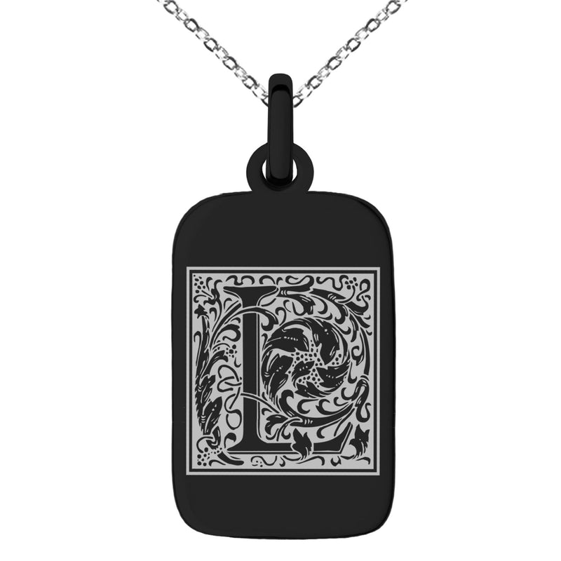 Stainless Steel Letter L Initial Floral Box Monogram Engraved Small Rectangle Dog Tag Charm Pendant Necklace