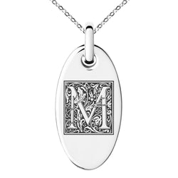 Stainless Steel Letter M Initial Floral Box Monogram Engraved Small Oval Charm Pendant Necklace
