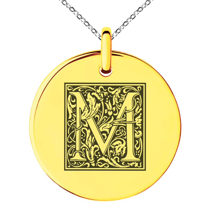 Stainless Steel Letter M Initial Floral Box Monogram Engraved Small Medallion Circle Charm Pendant Necklace