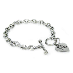 Stainless Steel Letter N Alphabet Initial Floral Monogram Engraved Heart Charm Toggle Link Bracelet - Tioneer