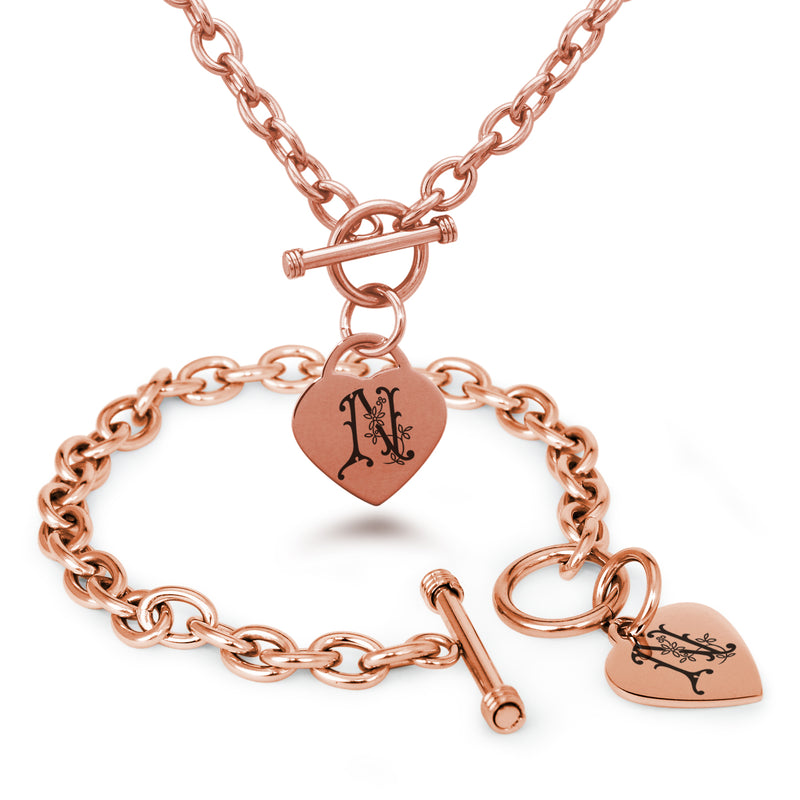 Stainless Steel Letter N Alphabet Initial Floral Monogram Engraved Heart Charm Toggle Link Bracelet Necklace Set - Tioneer