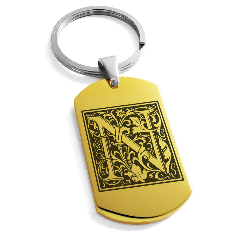 Stainless Steel Letter N Alphabet Initial Floral Box Monogram Engraved Dog Tag Keychain Keyring - Tioneer