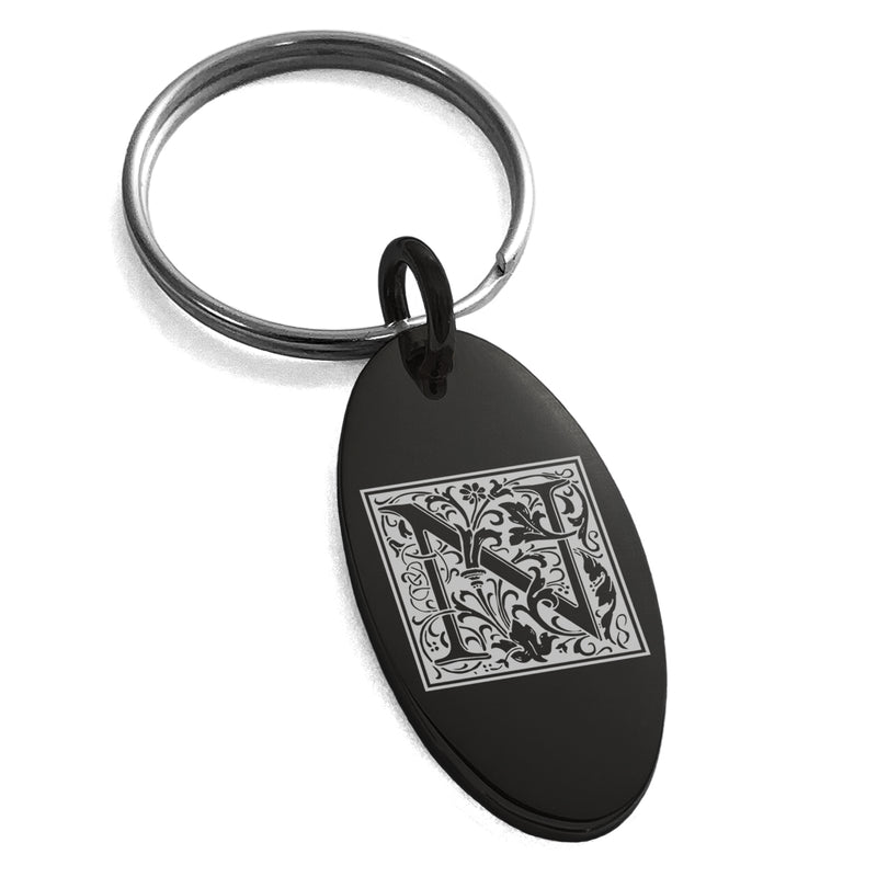 Stainless Steel Letter N Initial Floral Box Monogram Engraved Small Oval Charm Keychain Keyring - Tioneer