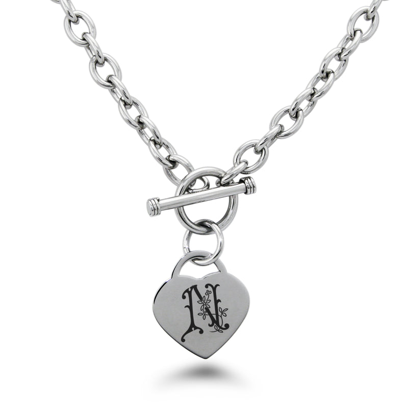 Stainless Steel Letter N Alphabet Initial Floral Monogram Engraved Heart Charm Toggle Link Necklace - Tioneer